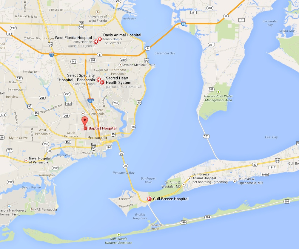 map of pensacola hospitals